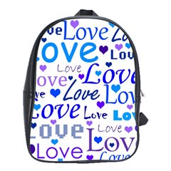 Blue and purple love pattern School Bags(Large)