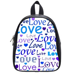 Blue and purple love pattern School Bags (Small)