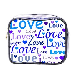 Blue and purple love pattern Mini Toiletries Bags