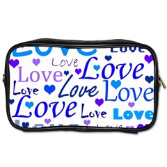 Blue and purple love pattern Toiletries Bags 2-Side