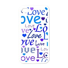 Blue and purple love pattern Apple iPhone 4 Case (White)