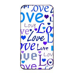 Blue and purple love pattern Apple iPhone 4/4s Seamless Case (Black)