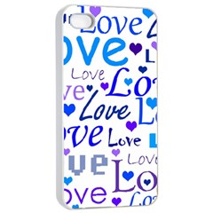 Blue and purple love pattern Apple iPhone 4/4s Seamless Case (White)