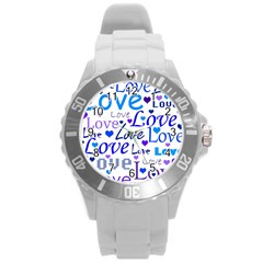 Blue and purple love pattern Round Plastic Sport Watch (L)