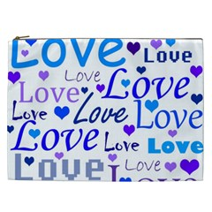 Blue and purple love pattern Cosmetic Bag (XXL)