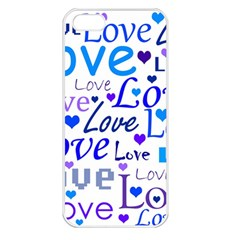 Blue and purple love pattern Apple iPhone 5 Seamless Case (White)