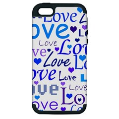 Blue and purple love pattern Apple iPhone 5 Hardshell Case (PC+Silicone)