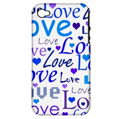 Blue and purple love pattern Apple iPhone 4/4S Hardshell Case (PC+Silicone)
