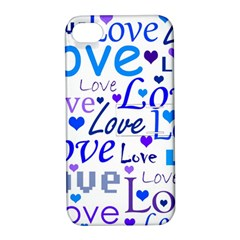 Blue and purple love pattern Apple iPhone 4/4S Hardshell Case with Stand