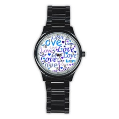Blue and purple love pattern Stainless Steel Round Watch