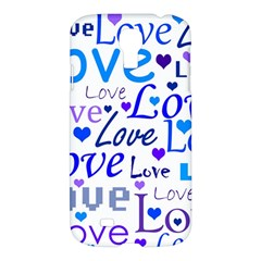 Blue and purple love pattern Samsung Galaxy S4 I9500/I9505 Hardshell Case