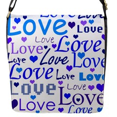 Blue and purple love pattern Flap Messenger Bag (S)
