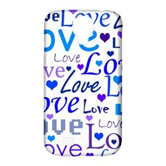 Blue and purple love pattern Samsung Galaxy S4 Classic Hardshell Case (PC+Silicone)