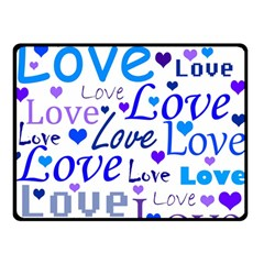 Blue and purple love pattern Double Sided Fleece Blanket (Small)