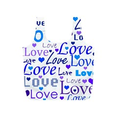 Blue and purple love pattern Full Print Recycle Bags (S)