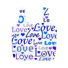Blue and purple love pattern Full Print Recycle Bags (M)