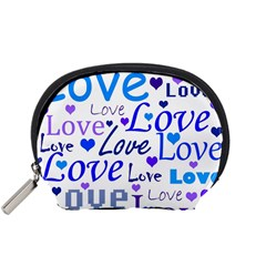 Blue and purple love pattern Accessory Pouches (Small)