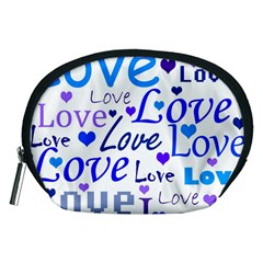 Blue and purple love pattern Accessory Pouches (Medium)