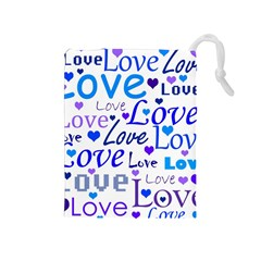 Blue and purple love pattern Drawstring Pouches (Medium)