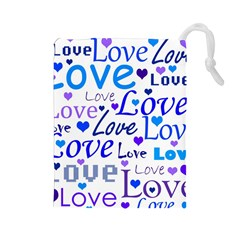 Blue and purple love pattern Drawstring Pouches (Large)