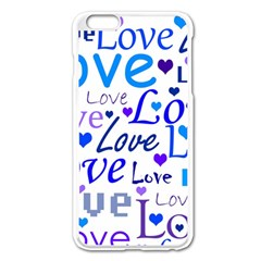 Blue and purple love pattern Apple iPhone 6 Plus/6S Plus Enamel White Case