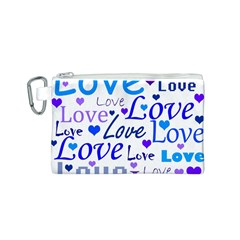 Blue and purple love pattern Canvas Cosmetic Bag (S)