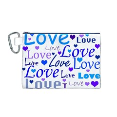 Blue and purple love pattern Canvas Cosmetic Bag (M)