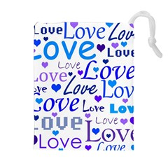 Blue and purple love pattern Drawstring Pouches (Extra Large)