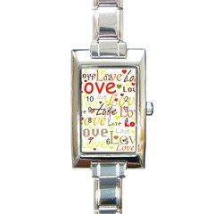Valentine s day pattern Rectangle Italian Charm Watch
