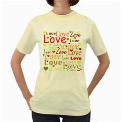 Valentine s day pattern Women s Yellow T-Shirt