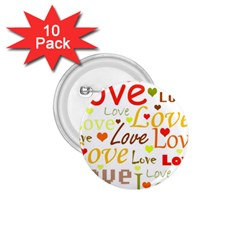 Valentine s day pattern 1.75  Buttons (10 pack)