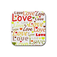 Valentine s day pattern Rubber Square Coaster (4 pack)