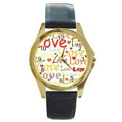Valentine s day pattern Round Gold Metal Watch