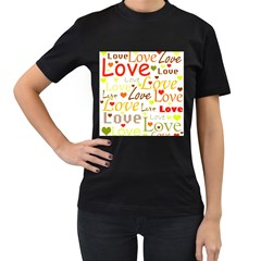 Valentine s day pattern Women s T-Shirt (Black) (Two Sided)