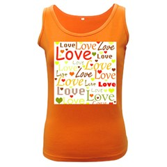 Valentine s day pattern Women s Dark Tank Top