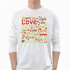 Valentine s day pattern White Long Sleeve T-Shirts