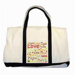 Valentine s day pattern Two Tone Tote Bag