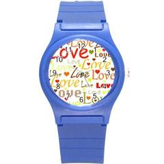 Valentine s day pattern Round Plastic Sport Watch (S)