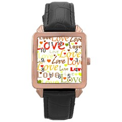 Valentine s day pattern Rose Gold Leather Watch