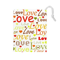 Valentine s day pattern Drawstring Pouches (Large)