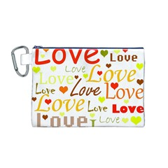 Valentine s day pattern Canvas Cosmetic Bag (M)