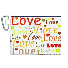 Valentine s day pattern Canvas Cosmetic Bag (XL)