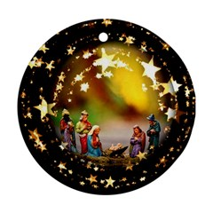 Christmas Crib Virgin Mary Joseph Jesus Christ Three Kings Baby Infant Jesus 4000 Ornament (Round)