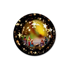 Christmas Crib Virgin Mary Joseph Jesus Christ Three Kings Baby Infant Jesus 4000 Rubber Round Coaster (4 pack)