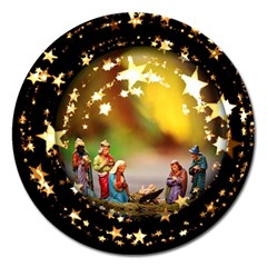 Christmas Crib Virgin Mary Joseph Jesus Christ Three Kings Baby Infant Jesus 4000 Magnet 5  (Round)