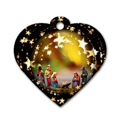 Christmas Crib Virgin Mary Joseph Jesus Christ Three Kings Baby Infant Jesus 4000 Dog Tag Heart (Two Sides)
