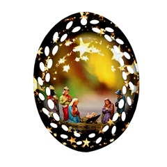 Christmas Crib Virgin Mary Joseph Jesus Christ Three Kings Baby Infant Jesus 4000 Ornament (Oval Filigree)