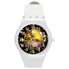 Christmas Crib Virgin Mary Joseph Jesus Christ Three Kings Baby Infant Jesus 4000 Round Plastic Sport Watch (M)