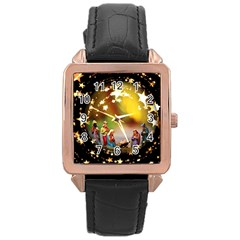 Christmas Crib Virgin Mary Joseph Jesus Christ Three Kings Baby Infant Jesus 4000 Rose Gold Leather Watch