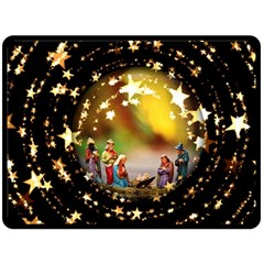 Christmas Crib Virgin Mary Joseph Jesus Christ Three Kings Baby Infant Jesus 4000 Double Sided Fleece Blanket (Large)